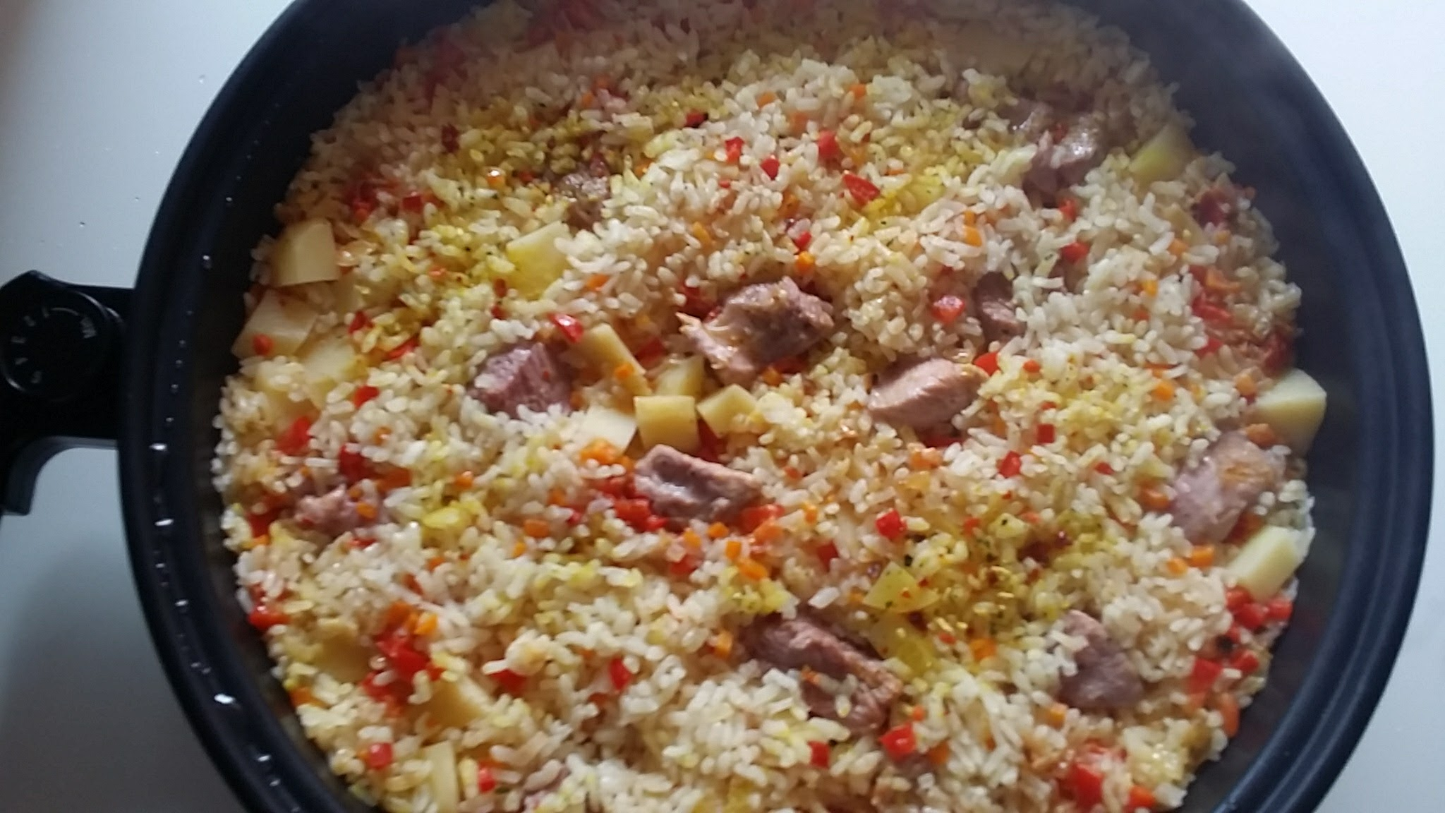 Fritada de arroz y pavo